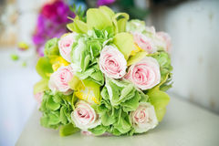 Wedding bouquet with pink roses. Beautiful Stock Photography