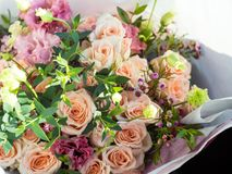 wedding bouquet of pink roses, flowers, delicate bouquet of the bride, selective focus stock photo