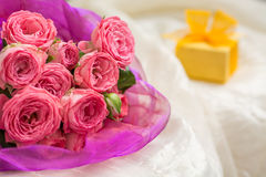 Wedding bouquet of pink roses with gift box for jewelry Royalty Free Stock Photo