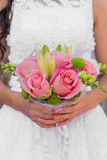 Wedding bouquet of pink roses and leaves Royalty Free Stock Photography