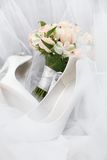 Wedding bouquet. Of pink roses. Selective focus Stock Photos