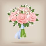 Wedding bouquet of pink roses. Royalty Free Stock Images