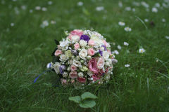 Wedding bouquet with pink roses and viburnum Stock Image