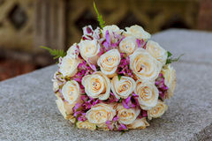 Wedding bouquet with pink and roses Royalty Free Stock Photography