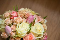 Wedding bouquet with pink, white and green flowers. Flowers for the bride Stock Photography