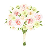 Wedding bouquet of pink, white and green roses. Vector illustration. Stock Image