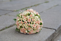 Wedding bouquet of  pink and white roses Stock Images