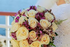 Wedding bouquet pink and white roses. Wedding bouquet of pink and white roses Stock Photos