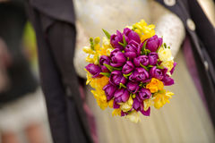 Wedding bouquet with purple tulips Stock Images