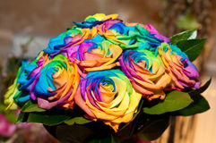 Wedding bouquet with rainbow roses Stock Photo