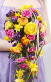 Wedding bouquet with ranunculus, daffodil and carnation Stock Image