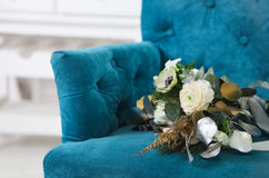 Wedding bouquet with ranunculus, freesia, roses and white anemon Royalty Free Stock Photos