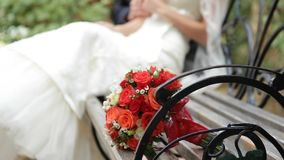 Wedding Bouquet of red roses. stock footage