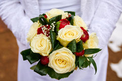 Wedding bouquet red roses. And rings Royalty Free Stock Photo