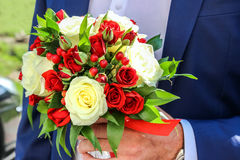 Wedding bouquet of red and white roses and hypericum in the hand of groom. Stock Photo