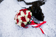 Wedding bouquet of red and white roses Stock Photography