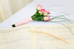 Wedding bouquet and register Royalty Free Stock Photo