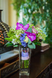 Wedding Bouquet for retro Wedding. Wediing bouquet with orchid in green, violet, blue and white colors Royalty Free Stock Images
