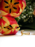 Wedding bouquet and ring Stock Photography