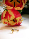 Wedding bouquet and ring Royalty Free Stock Image