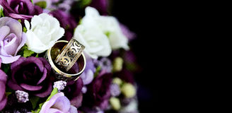 Wedding Bouquet and ring Stock Photo