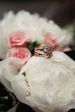 Wedding bouquet and ring set details Royalty Free Stock Images