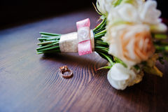 Wedding bouquet and ring Stock Image