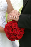 Wedding bouquet and rings Royalty Free Stock Image