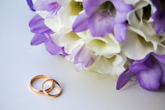 Wedding bouquet with rings Stock Photo