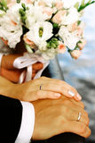Wedding bouquet. With rings Royalty Free Stock Photo