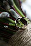 Wedding bouquet and rings. The concept of marriage and love. accessories marriage closeup Stock Photos