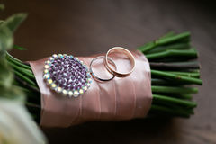 Wedding bouquet and rings. The concept of marriage and love. accessories marriage closeup Stock Photography
