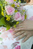 Wedding bouquet with rings.GN Stock Image