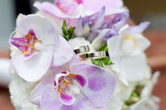 Wedding bouquet with rings. Marriage Stock Images