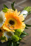 A Wedding Bouquet with Rings Stock Image