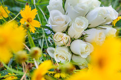 Wedding bouquet and rings in yellow flowers Royalty Free Stock Photos