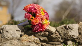 Wedding bouquet on the rocks Stock Photos
