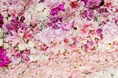 Wedding bouquet with rose bush, Ranunculus asiaticus as a backgr Stock Images