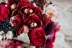 Wedding bouquet with rose bush, royalty free stock photos
