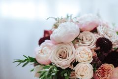 Wedding bouquet with rose bush royalty free stock photo