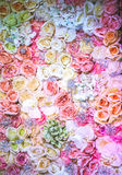 Wedding bouquet with rose bush. Ranunculus asiaticus as a background Stock Photography