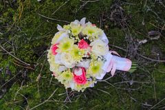 Wedding bouquet of rose, chrysanthemum , iris, and gypsophila in the hands of the groom.  Royalty Free Stock Photos