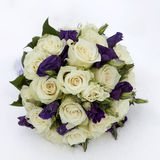 Wedding bouquet with rose and lisianthus Stock Photos