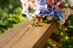 Wedding bouquet of roses and blue fresia Royalty Free Stock Photography