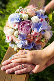 Wedding bouquet of roses and blue fresia Stock Images