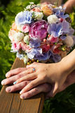 Wedding bouquet of roses and blue fresia Stock Photos