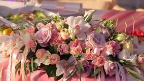 Wedding bouquet of roses. Bride`s bouquet on wedding day. Bouquet of different flowers. Bouquet of beautiful pink and stock video