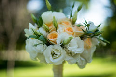 Wedding bouquet of roses and eustoma. On blurred background. Wedding bouquet of roses and eustoma . closeup. On blurred background Royalty Free Stock Photos