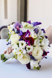 Wedding bouquet with roses, freesias, chrysanthemums and lavende Royalty Free Stock Photography