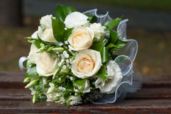 Wedding bouquet of roses and green leaves Royalty Free Stock Image